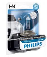 Автолампа PHILIPS H4 White Vision 4300К +60% (блистер)