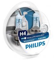 Автолампа PHILIPS H4  White Vision 4300К +60% 2шт.