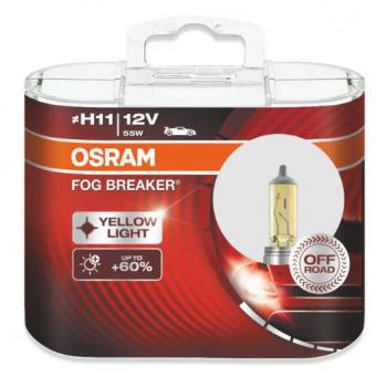 Автолампа OSRAM H11 12V 55W  FOG BREAKER - OFF-ROAD + 200% (2шт)