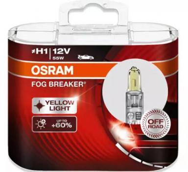 Автолампа OSRAM H1 FOG BREAKER - OFF-ROAD - 2600K  + 200% (2шт)