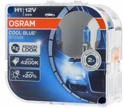 Автолампа OSRAM H1 12V 55W (P14.5s) COOL BLUE INTENSE  + 20% 4200K (2 шт)