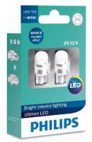 Лампа cветодиодная PHILIPS  T10 12V Vision LED 6000K (2 шт.)