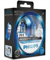 Автолампа PHILIPS  H4  Color Vision +60% синяя 3350K