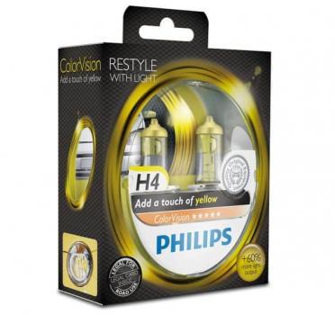 Автолампа PHILIPS H4  Color Vision +60% желтая  3350K