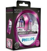 Автолампа PHILIPS H4  Color Vision +60% розовая 3350K