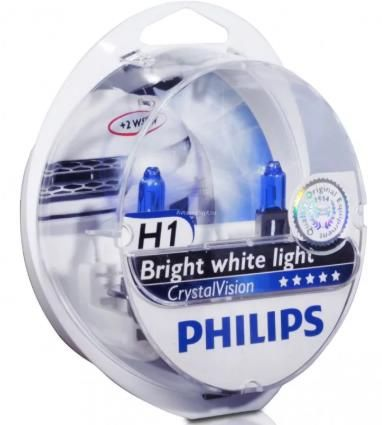 Автолампа PHILIPS H1  Crystal Vision 4300K (2шт)