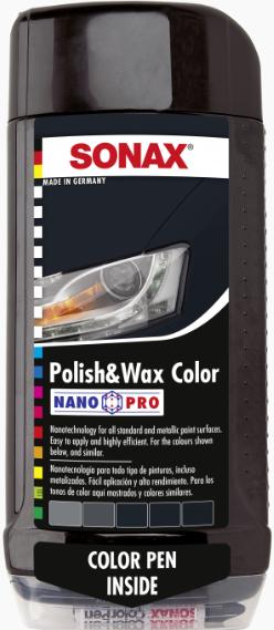 Цветной полироль с воском + карандаш(черный) Sonax Nano Pro 0.5л
